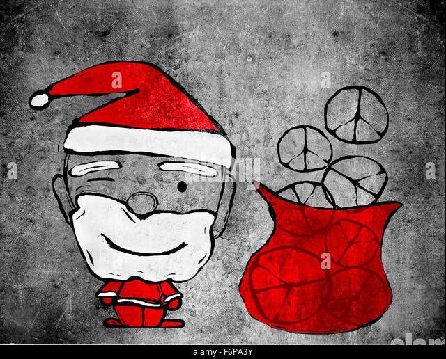 Santa Claus und Frieden Symbole digitale illustration Stockbild