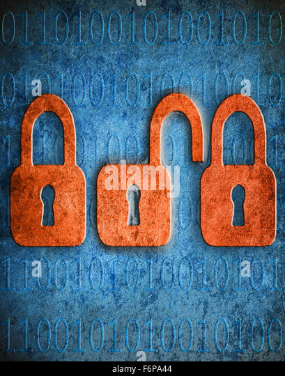 Digital digitale Illustration Sicherheitskonzept Vorhängeschlösser mit Textfreiraum Stockbild