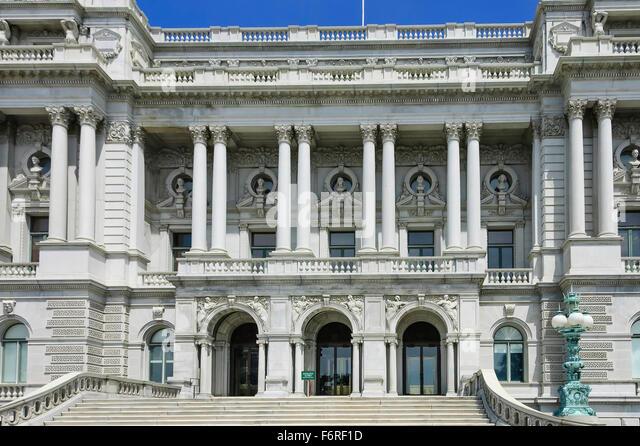 Vorderansicht des historischen Thomas Jefferson Building oder der US Library of Congress in Washington, DC Stockbild