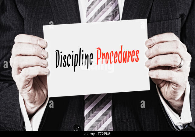 Disziplin Verfahren, Induktion Trainingskonzept Schlagzeilen. Stockbild