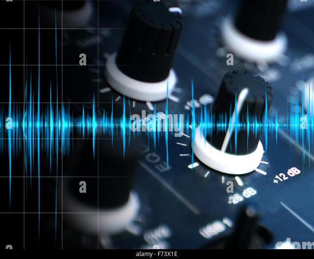 Musikcollage Konzept equalizer Stockbild