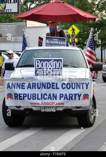 Eine republikanische Partei für Anne Arundel County in einem Independance Day-Parade in Annapolis, Maryland Stockbild