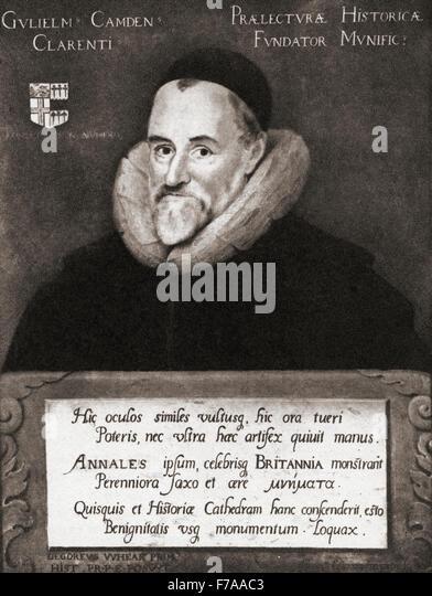 William Camden, 1551 ? 1623.  Englische Antiquar, Historiker, Topograph und Herold. Nach dem Gemälde von Gheeraedts. Stockbild