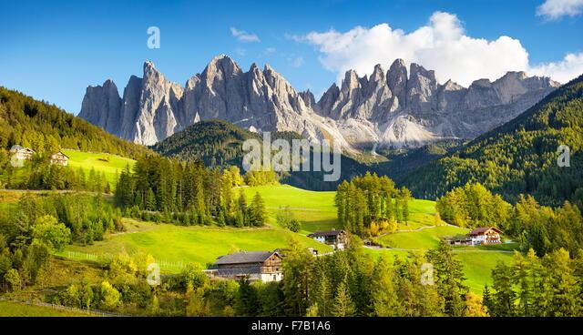 St. Magdalena, Dolomiten-Landschaft, Tirol, Alpen, Italien Stockbild
