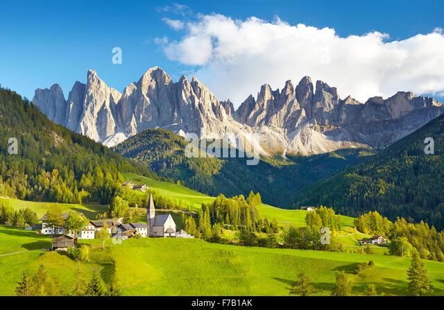St. Magdalena, Val Di Funes, Dolomiten, Tirol, Alpen, Italien Stockbild