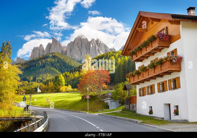 Val Di Funes, Provinz Tirol, Alpen, Dolomiten, Italien Stockbild