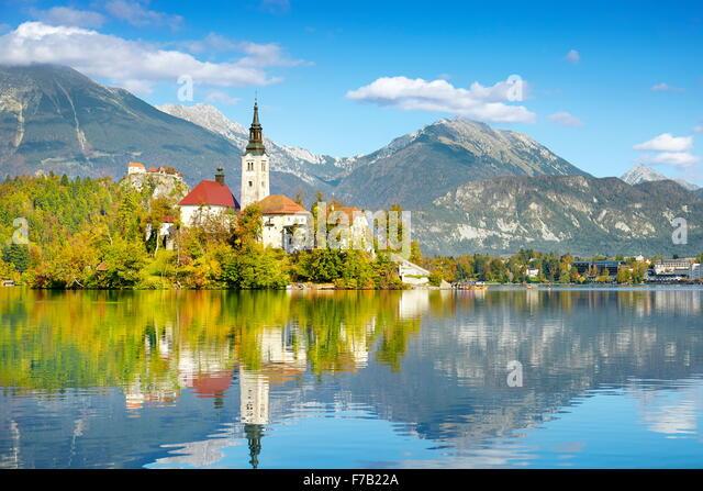 Herbst-Lake Bled, Slowenien Stockbild