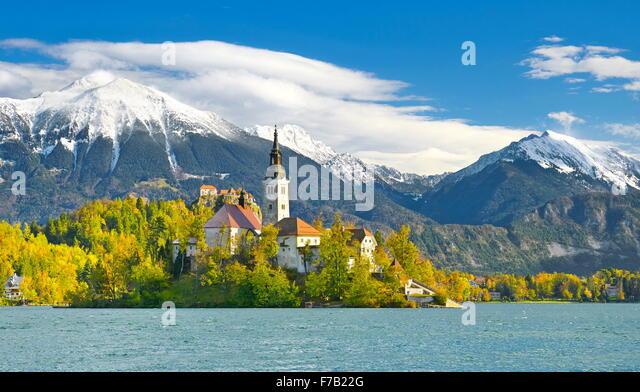 Lake Bled, Slowenien Stockbild