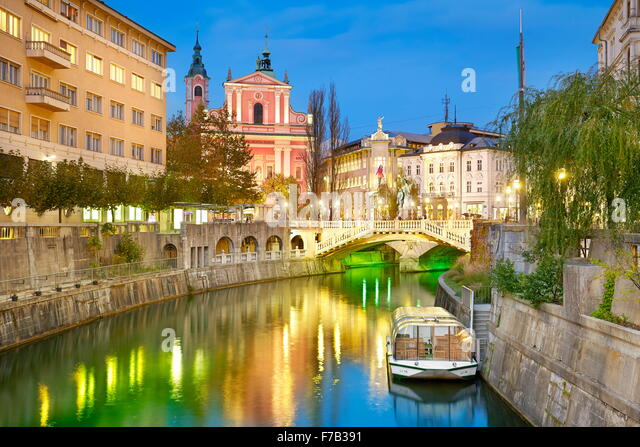 Ljubljana am Abendzeit, Slowenien Stockbild