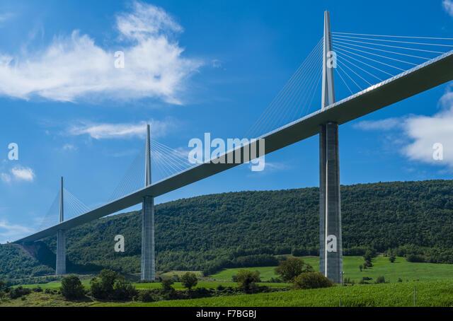Viadukt von Millau, Viaduc de Millau, Michel Virlogeux, Norman Foster, Frankreich, Midi-Pyrenees, Millau Stockbild