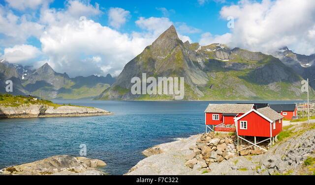 Fischer rotes Rorbu Hütte, Lofoten Inseln, Norwegen Stockbild