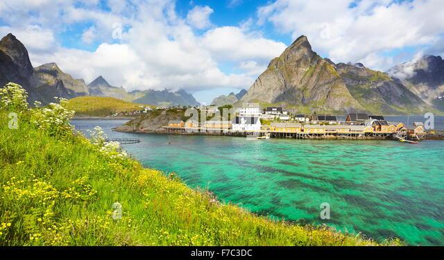 Lofoten-Inseln, Frühling Landschaft, Moskenes, Norwegen Stockbild