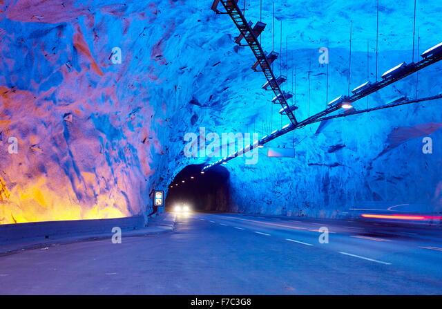 Laerdal-Tunnel zwischen Aurland und Laerdal, Laerdalstunnelen (die weltweit längste 24,5 km) Aurland, Norwegen Stockbild