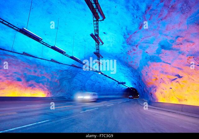 Laerdal Tunnel, Laerdalstunnelen (die weltweit längste 24,5 km) Aurland, Norwegen Stockbild