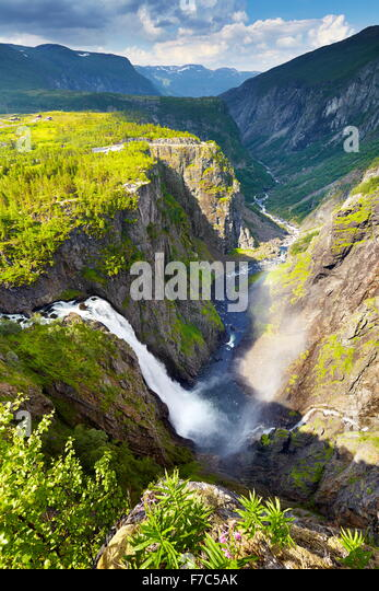 Der Voringfossen Wasserfall, Hordaland, Norwegen Stockbild