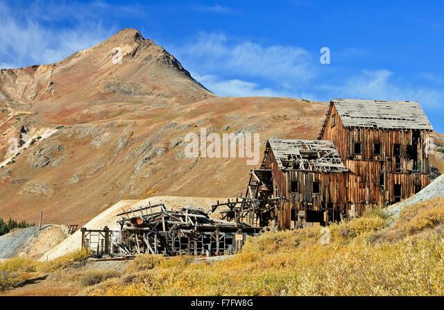 Aufgegeben von Frisco Mühle, San Juan Mountains, Colorado USA Stockbild