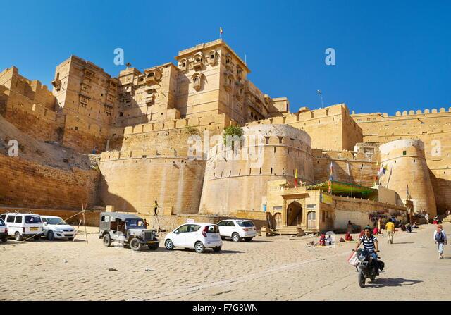 Wände von Jaisalmer Fort, Jaisalmer, Rajasthan, Indien Stockbild