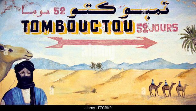 Eine gemalten Zeichen der Wüste auf Timbuktu von Zagora in Marokko, Nordafrika Stockbild
