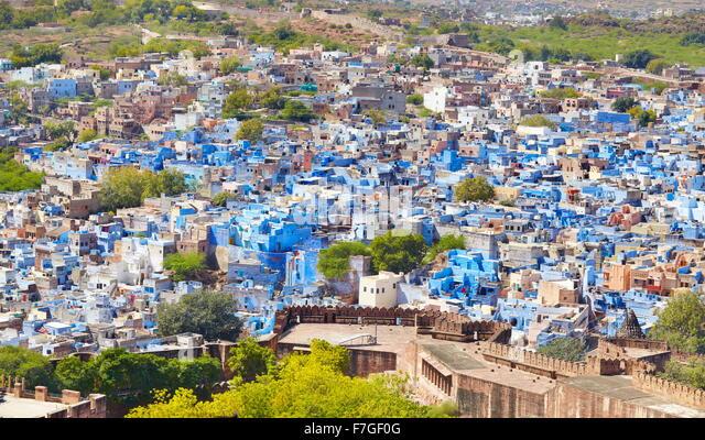 Luftaufnahme von Jodhpur, die blaue Stadt von Rajasthan, Indien Stockbild