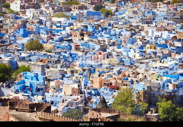 Jodhpur - Blick vom Meherangarh Fort in Jodhpur, die blaue Stadt von Rajasthan, Indien Stockbild