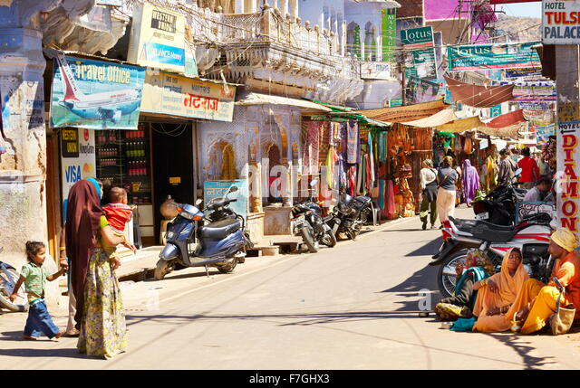 Hauptstraße Pushkar, Rajasthan, Indien Stockbild