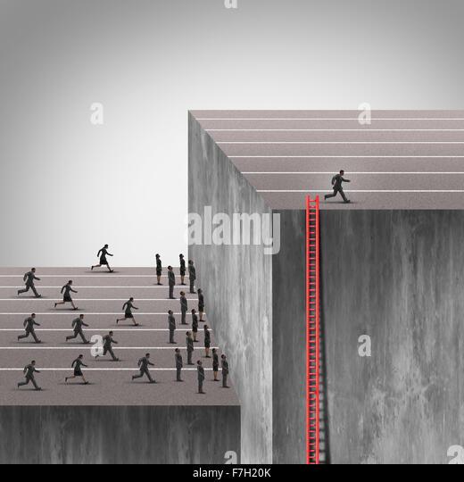 Gewinn-Strategie zu planen als intelligenter schlauer Geschäftsmann mit einer versteckten Leiter über Stockbild