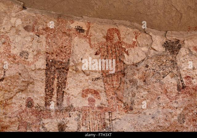 pr5398-D. Petroglyphen und Felszeichnungen von Santa Marta, die Menschen, Tiere darstellen (Hirsch, Kaninchen, Fisch, Stockbild