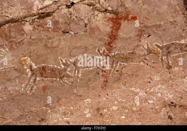 pr5408-D. Petroglyphen und Felszeichnungen von Santa Marta, die Menschen, Tiere darstellen (Hirsch, Kaninchen, Fisch, Stockbild