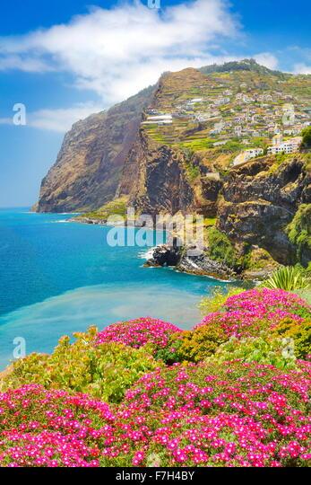 Blick auf Cabo Girao Cliff - Camara de Lobos Insel Madeira, Portugal Stockbild