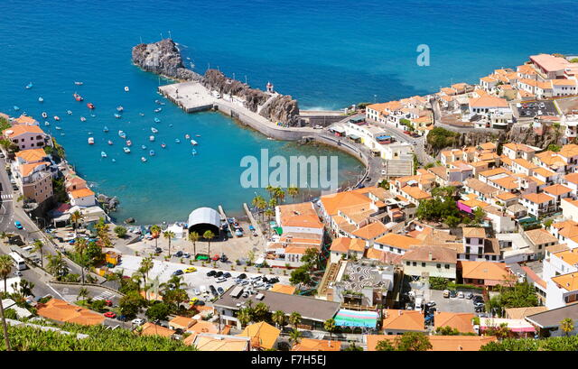 Luftaufnahme von Camara de Lobos, die Insel Madeira, Portugal Stockbild