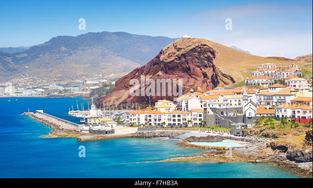 Fischerdorf Canical, Insel Madeira, Portugal Stockbild