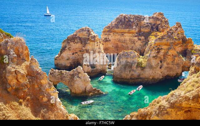 Algarve-Küste Ponta da Piedade in der Nähe von Lagos, Algarve, Portugal Stockbild