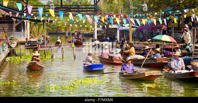 Bangkok - Tha Kha Floating Market in der Nähe von Bangkok, Thailand Stockbild