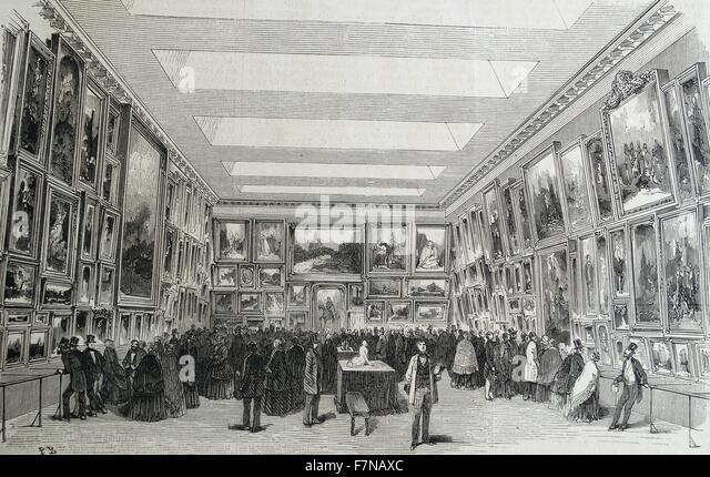 Holzschnitt zeigt eine Ausstellung von Bildern in einer Galerie in Frankreich angezeigt. Datiert 1852 Stockbild