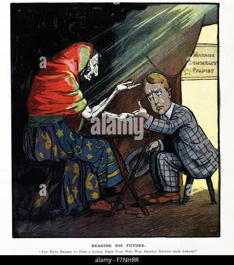 Politische Satire Abbildung Darstellung Madame Demokratie Handleser, William Randolph Hearst Palm lesen und sprechen Stockbild