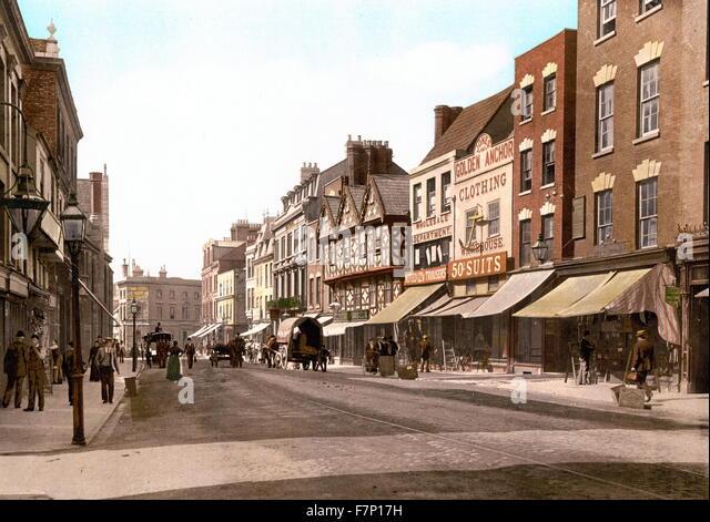 Southgate Street, Gloucester, England 1890 Stockbild