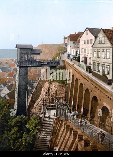 Der Lift, Helgoland, Deutschland 1895 Stockbild