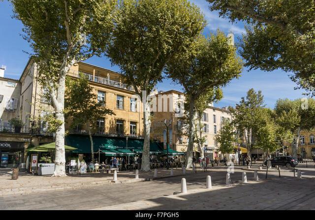 Les Deux Garçons Straßencafé und Restaurant Cours Mirabeau Aix-en-Provence Frankreich Stockbild