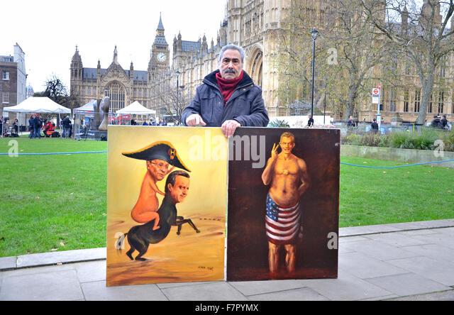 London, Großbritannien. 2. Dezember 2015. die Medien der Welt und eine kleine Zahl von Demonstranten auf Hochschule Stockbild