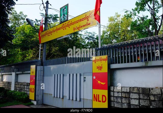 Der Eingang zu Aung San Suu Kyis Haus in Yangon Stockbild