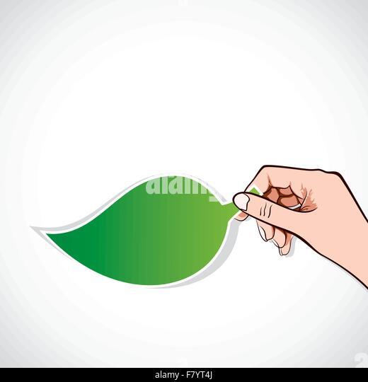 grüne Blatt Aufkleber in der hand Stockbild