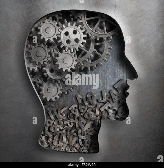Gehirn Arbeitsmodell. Denken, Psychologie, Kreativität, Sprache-Konzept. Stockbild