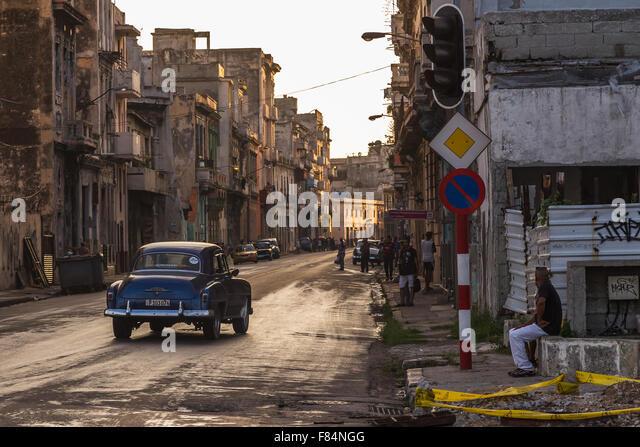 San Lazaro in der Abenddämmerung in Cento Havanna, Kuba. Stockbild