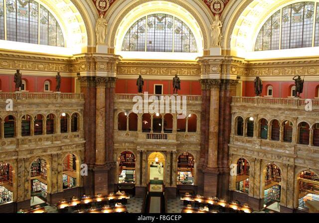 Washington, DC, USA. 9. Dezember 2015. Foto auf Dec.9, 2015 zeigt die Main-Lesesaal in der Library of Congress in Stockbild