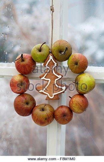 Ein Apfel-Kranz und ein Weihnachts-Keks hängen im Fenster Stockbild