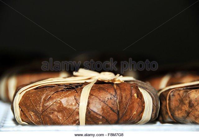 Banon-de-Provence (Käse in Kastanie Blätter gewickelt) Stockbild