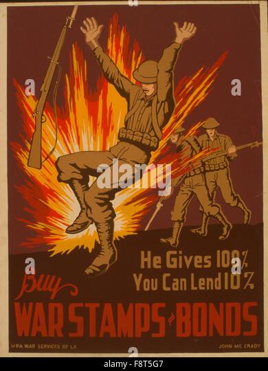Arbeit Projekte Administration (WPA) Plakat was soll Zivilisten in Kriegszeiten zu fördern zwischen 1936 und Stockbild