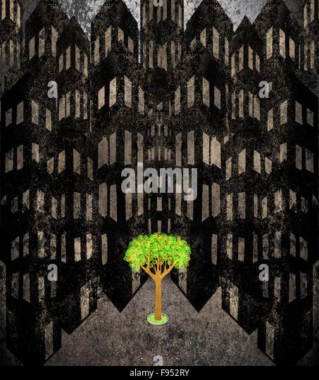Einsamer Baum in ein Stadtbild digitale illustration Stockbild