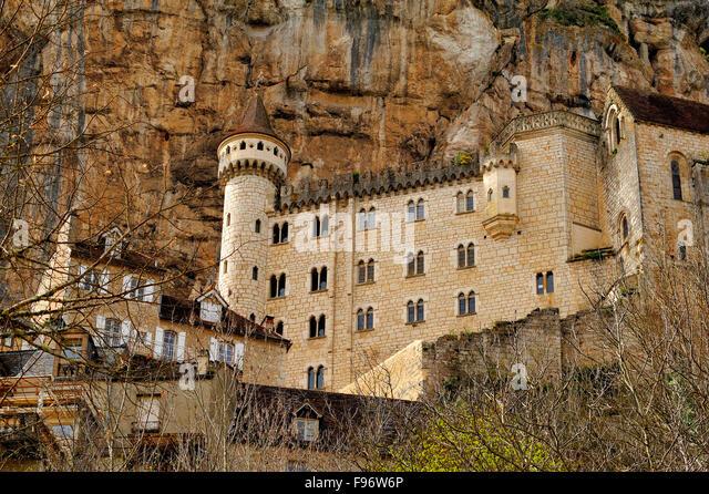 alte Stadt von Rocamadour, viel Abteilung, Aquitaine, Frankreich Stockbild