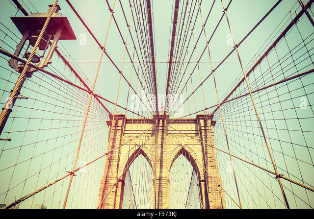 Retro-getönten Bild von der Brooklyn Bridge in New York City, USA. Stockbild